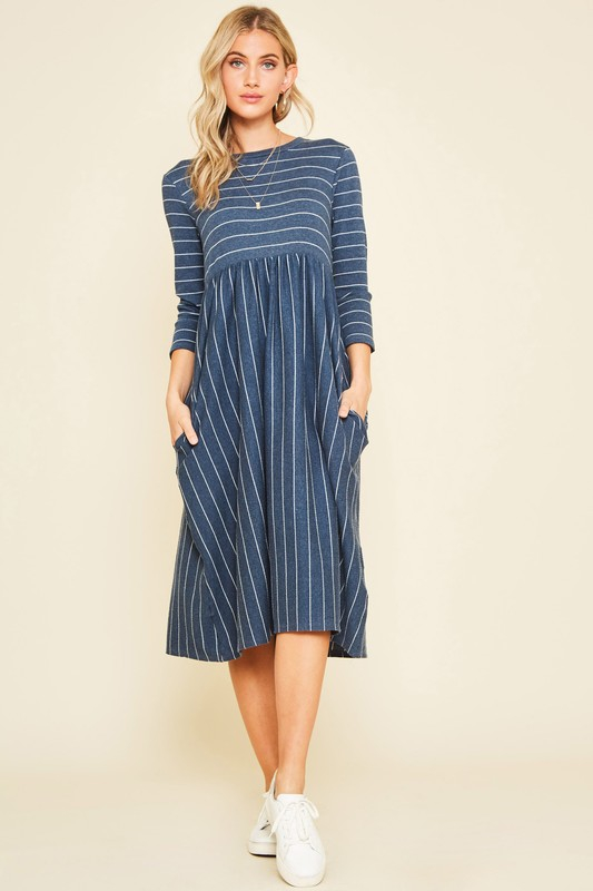 SIDE POCKET STRIPED MIDI DRESS - orangeshine.com