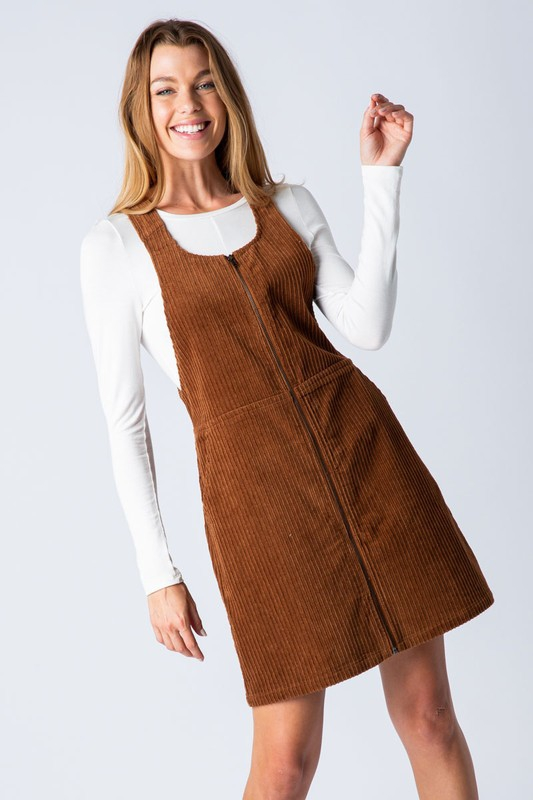 CORDUROY ZIP UP MINI DRESS - orangeshine.com