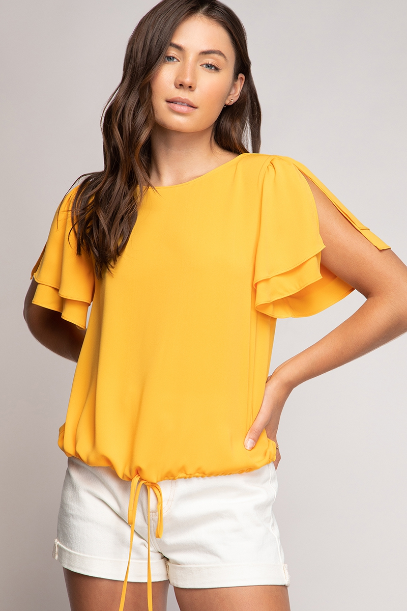 CROP SLIT SLEEVE BLOUSE  - orangeshine.com