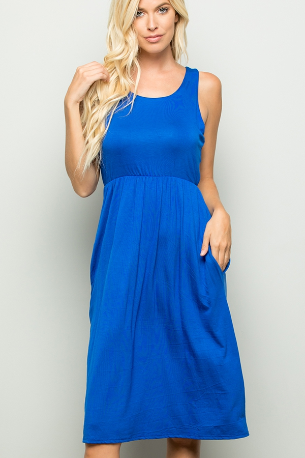 SLEEVELESS SOLID DRESS WITH SIDE POC - orangeshine.com