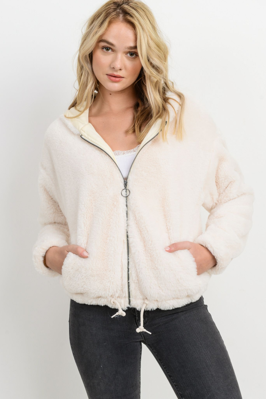 Fur Drawstring Zipper Jacket - orangeshine.com