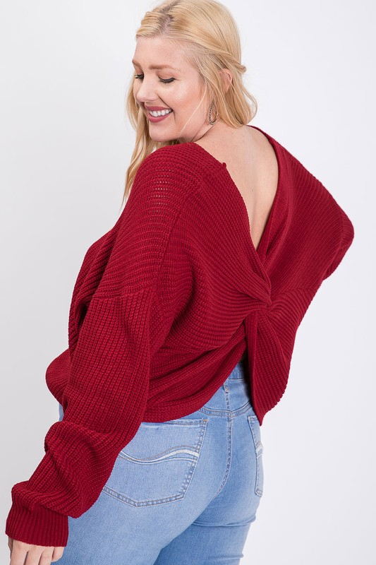 CHUNKY KNIT SWEATER WITH CROSS TWIST - orangeshine.com