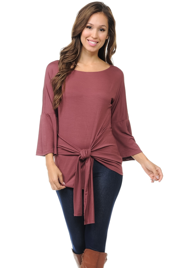 Bell Sleeve Top with Front Tie  - orangeshine.com