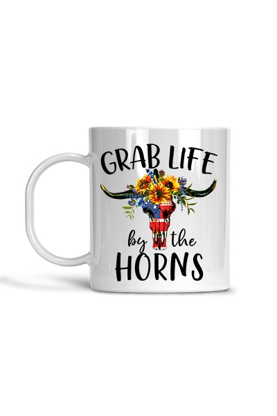 Grab Life by the Horns - Mug - orangeshine.com
