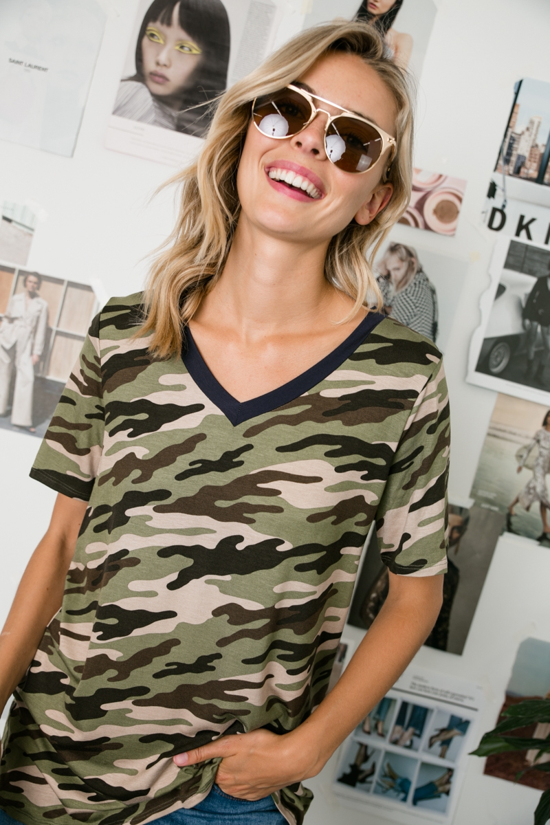 CAMOUFLAGE SOLID MIXED V NECK TOP - orangeshine.com