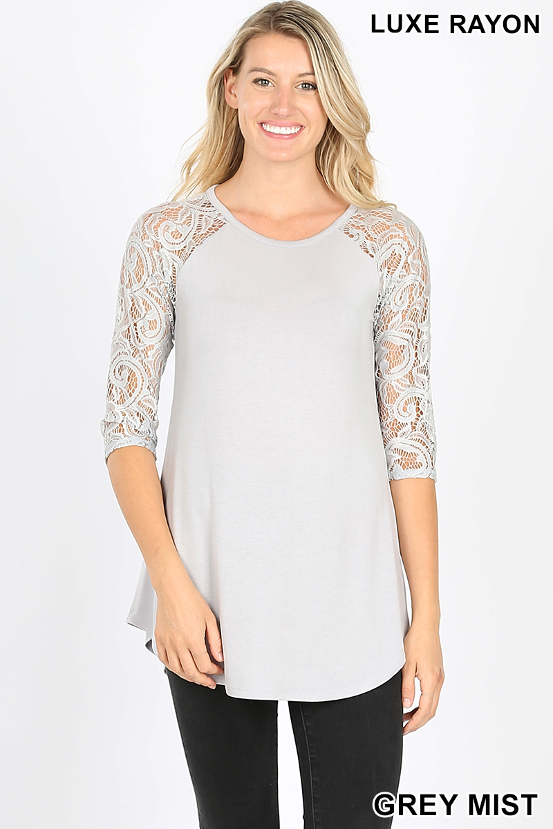 LUXE RAYON LACE HALF SLEEVE TOP - orangeshine.com