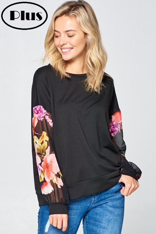FLORAL WOVEN VOLUME SLEEVE PLUS TOP - orangeshine.com