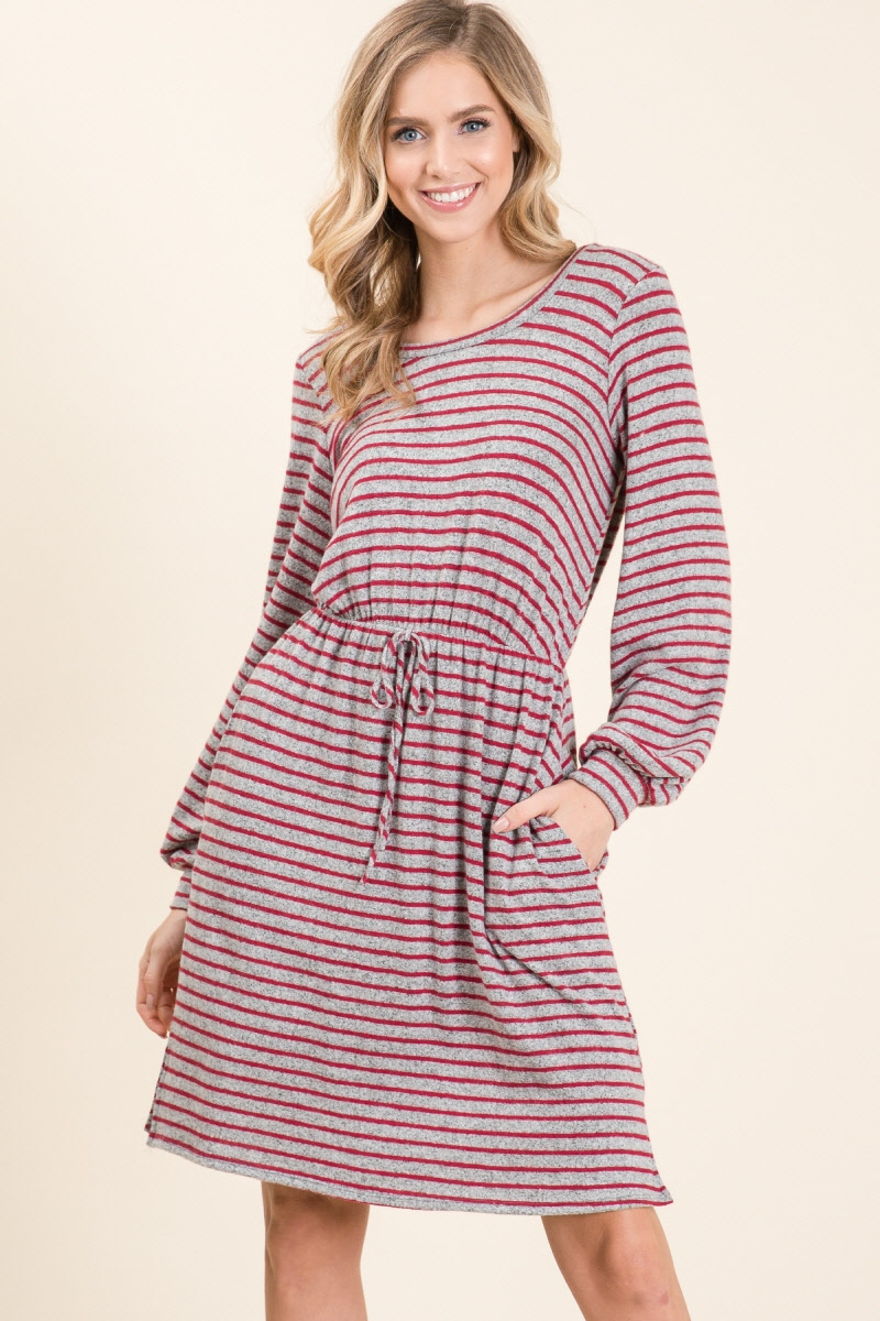 STRIPE HACCI LONG SLEEVE DRESS	 - orangeshine.com