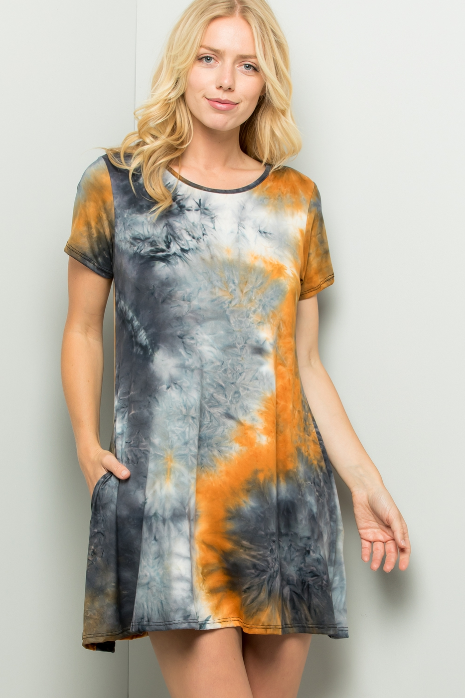 SHORT SLEEVE TIE DYE PRINT DRESS  - orangeshine.com