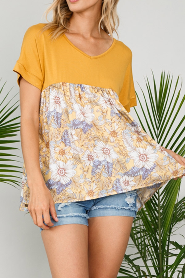 FLORAL WOVEN MIXED BABY DOLL TOP - orangeshine.com