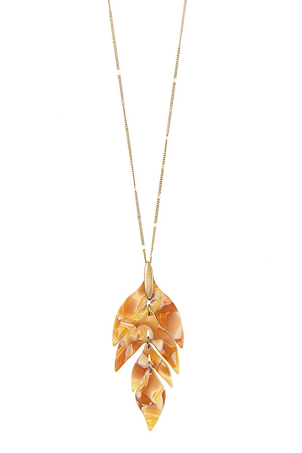 ACETATE LEAF PENDANT LONG NECKLACE  - orangeshine.com