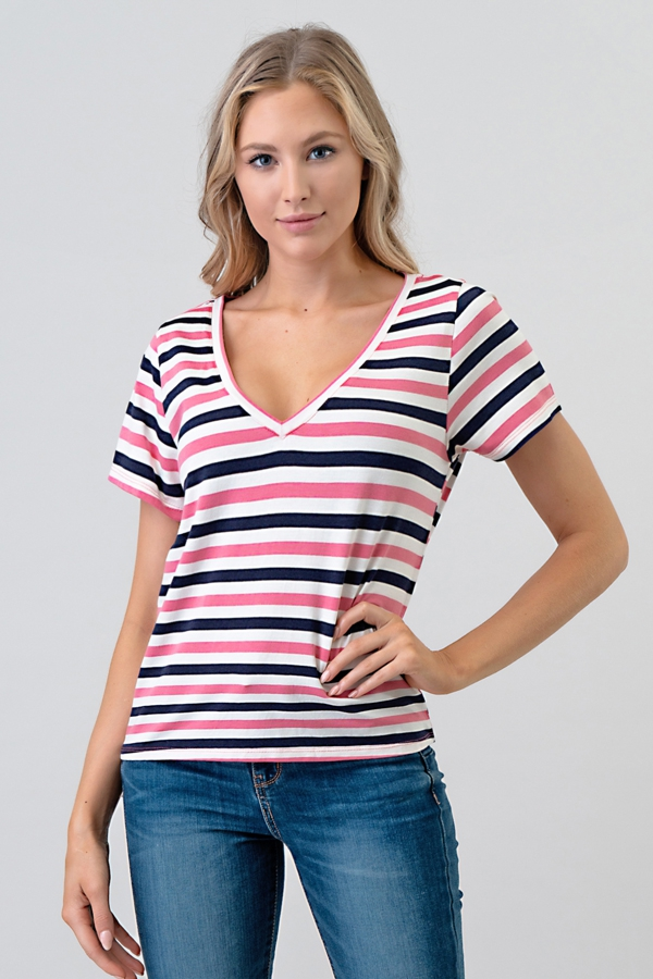 CLASSIC STRIPE V-NECK SHORT TOP - orangeshine.com