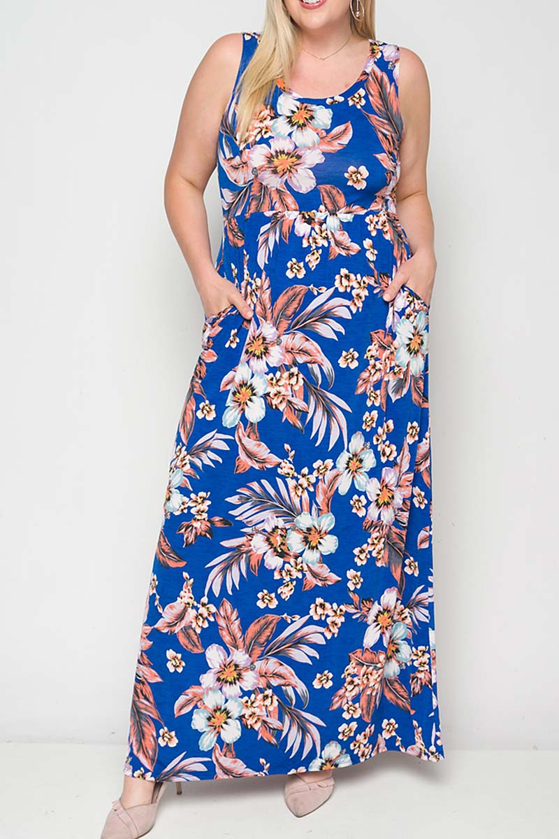 FLORAL PRINT BABY DOLL MAXI DRESS - orangeshine.com