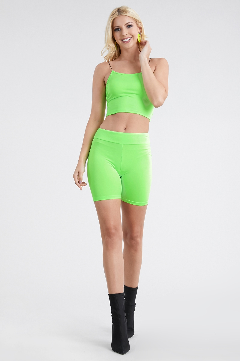 Crop Top Biker Shorts Set - orangeshine.com
