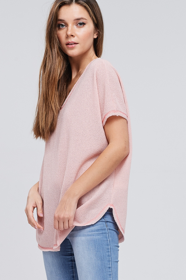 Short Sleeve Oversize Solid Knit Top - orangeshine.com