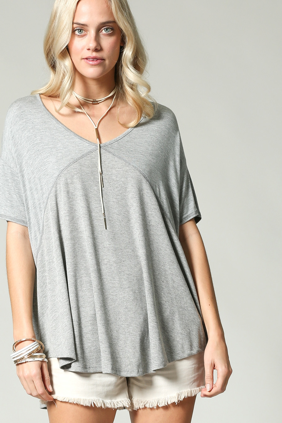 OVERSIZE CASUAL RIB TOP WITH RAYON - orangeshine.com