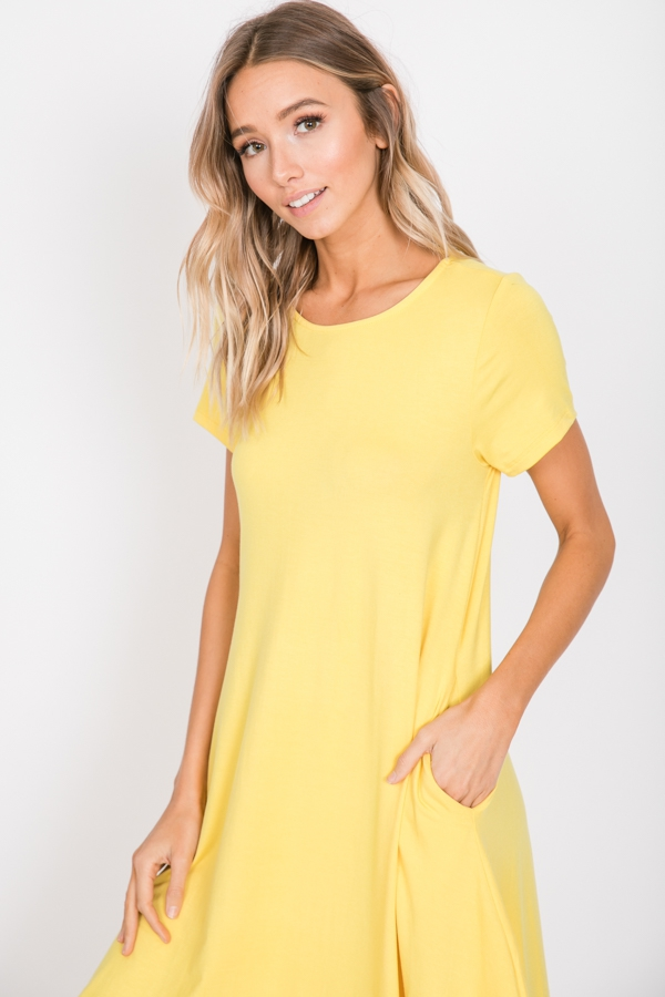 Solid Short Sleeve Knee Length Dress - orangeshine.com