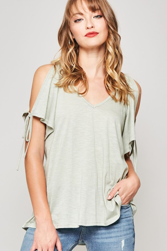 TIED OPEN SLEEVE V NECK TEE KNIT TOP - orangeshine.com