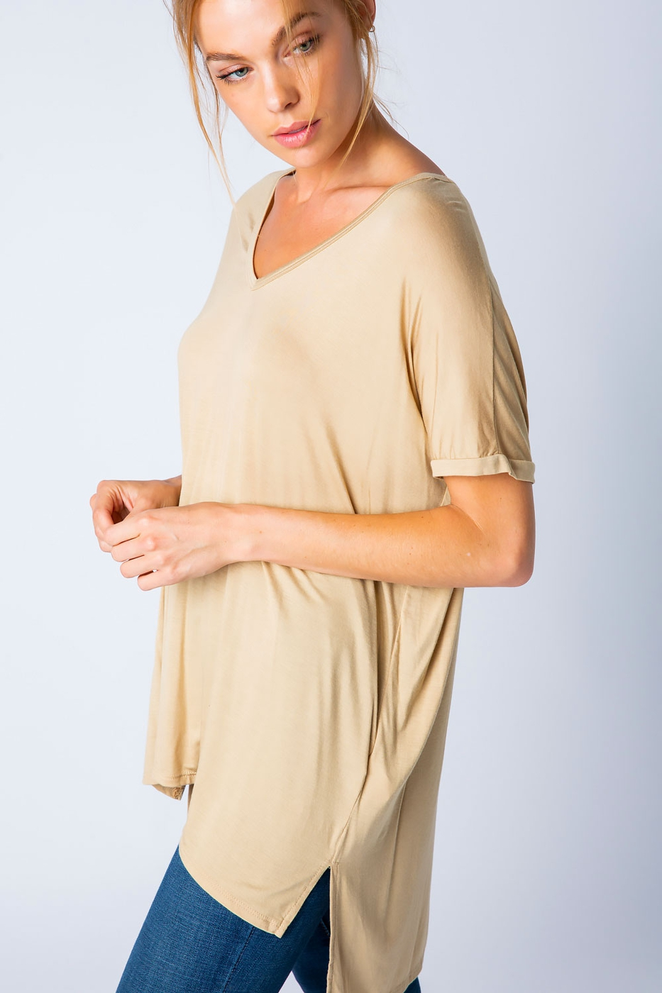 MICROMODAL V NECK HIGH LOW TOP - orangeshine.com