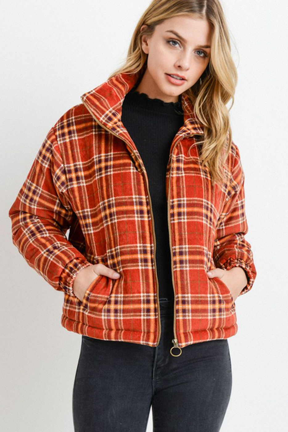 Plaid Puffy Long Sleeve Jacket - orangeshine.com
