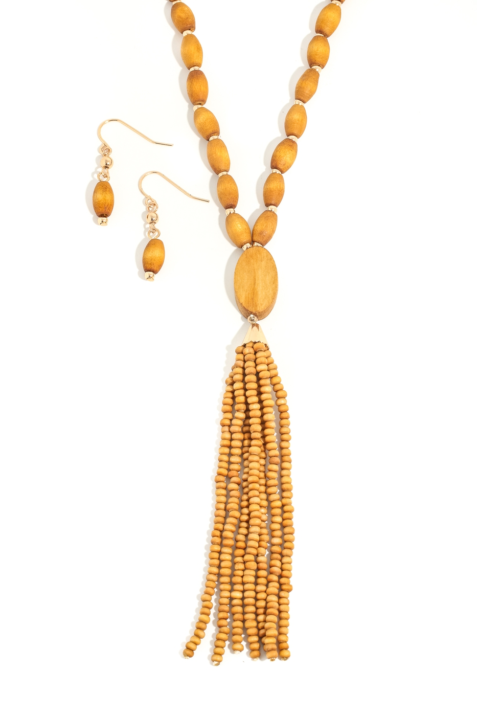 Beaded Tassel Pendant Necklace - orangeshine.com