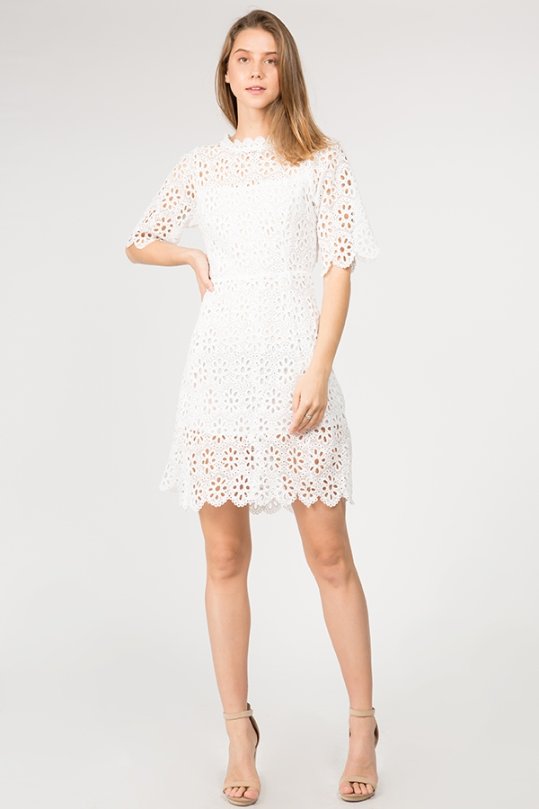 FLOWER LACE MIDI DRESS - orangeshine.com