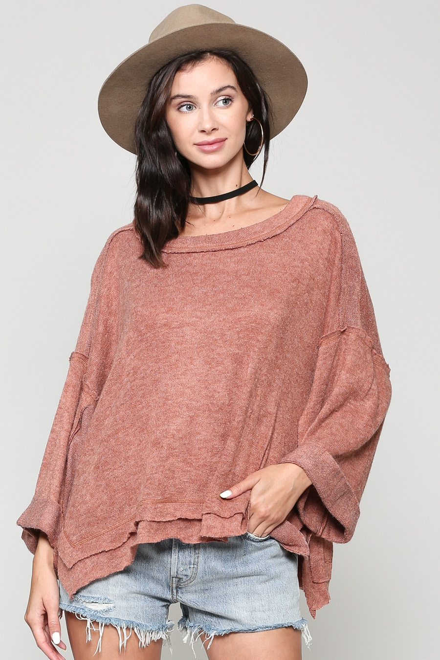 LOOSE FIT WIDE NECK TOP - orangeshine.com