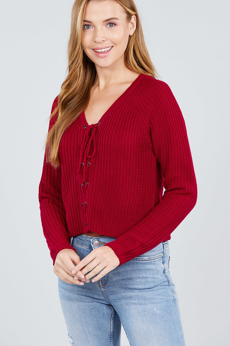 LONG SLEEVE LACE-UP CROP SWEATER TOP - orangeshine.com