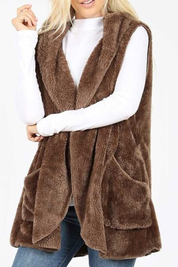 Hooded faux fur cocoon vest with sid - orangeshine.com