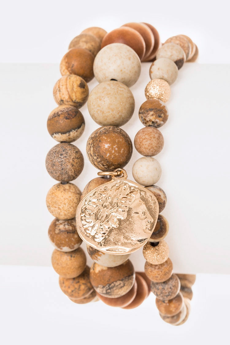 Gold Coin Natural Beads Stretch Brac - orangeshine.com