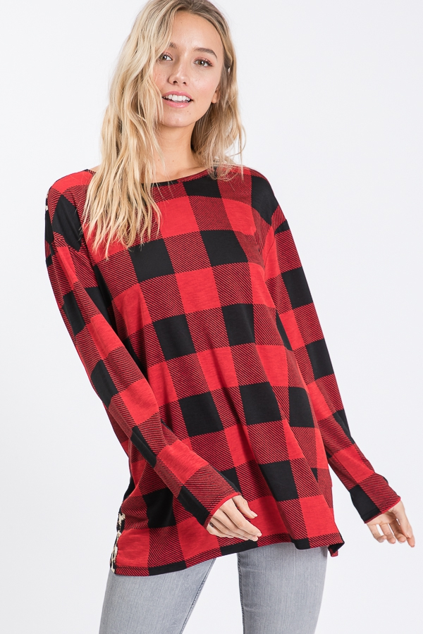 ANIMAL AND PLAID TOP WITH CROSSED OP - orangeshine.com
