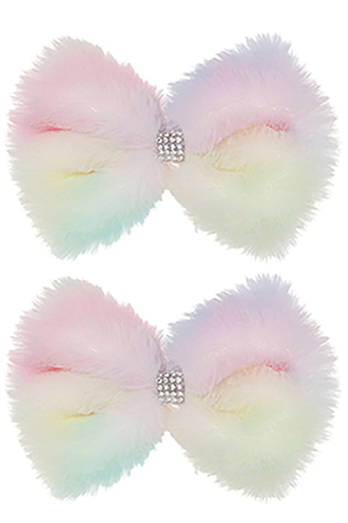 2-pc Soft Fur Bow Hair Clip Set - orangeshine.com