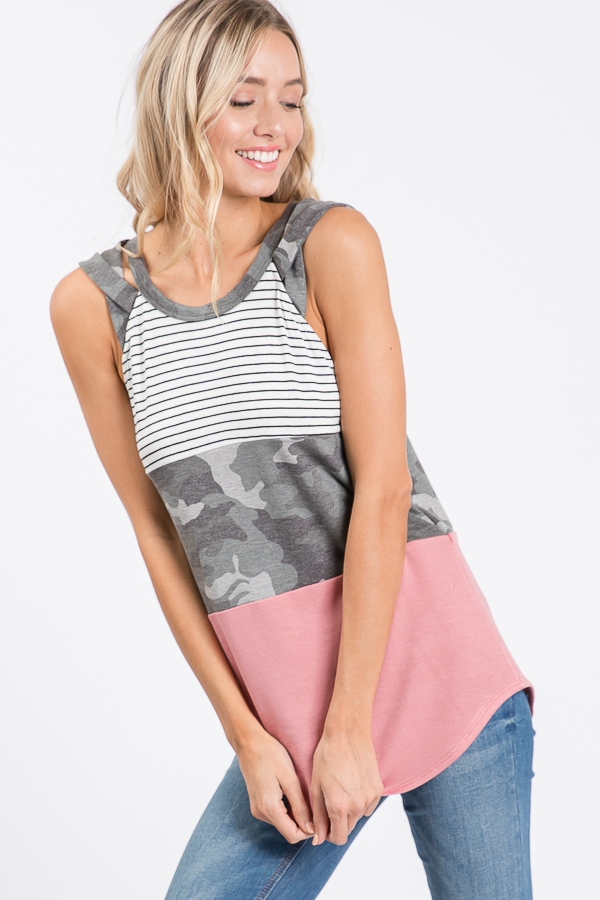 COLOR BLOCK TANK TOP  - orangeshine.com