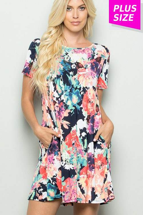 PLUS FLORAL DRESS WITH POCKET - orangeshine.com