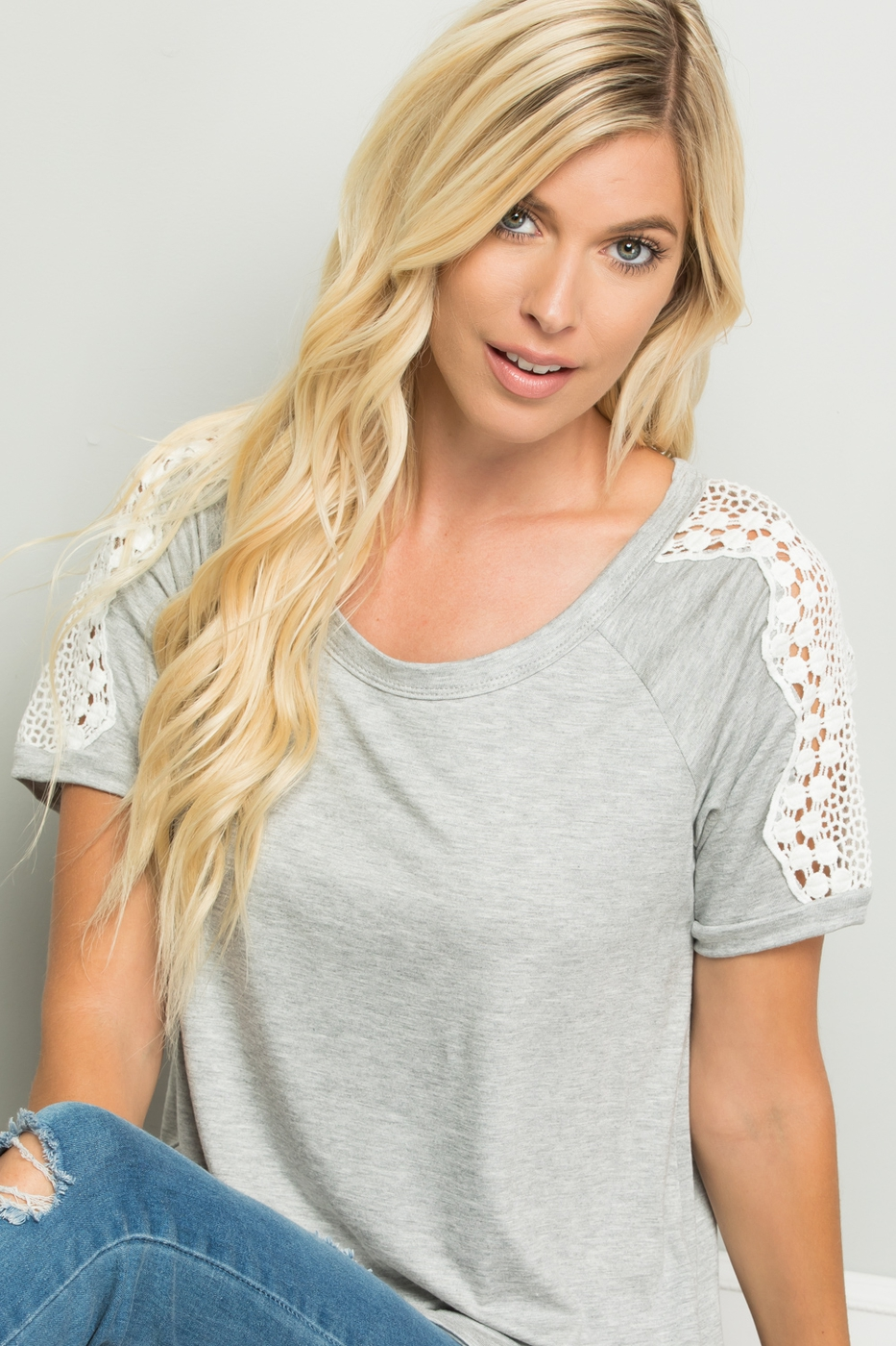 SHORT SLEEVE SOLID TOP WITH LACE TRI - orangeshine.com