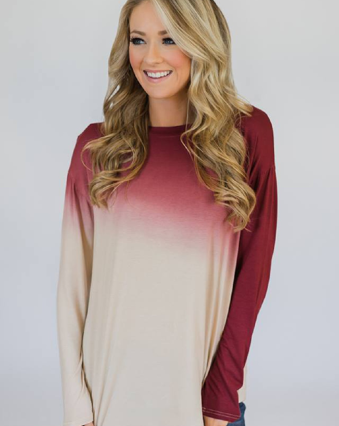GRADIENT ROUND NECK TOP - orangeshine.com