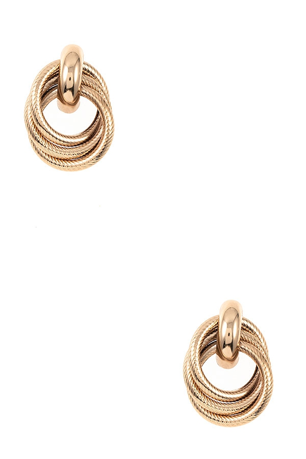 INTERLOCKED RING DROP EARRING - orangeshine.com
