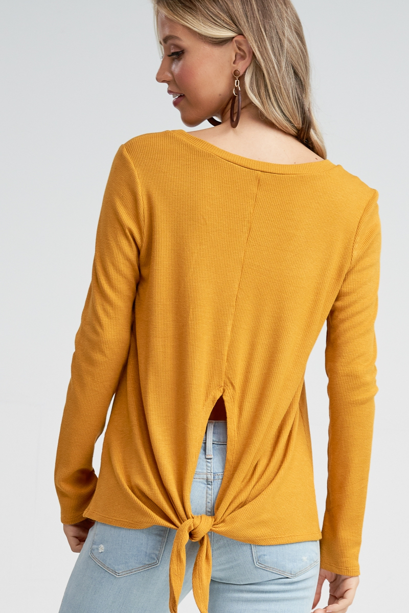 Solid Knit Self Tie Knot Back Top - orangeshine.com