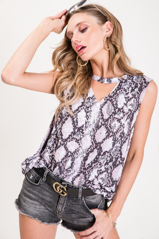 SNAKESKIN PRINT KNIT TOP  - orangeshine.com