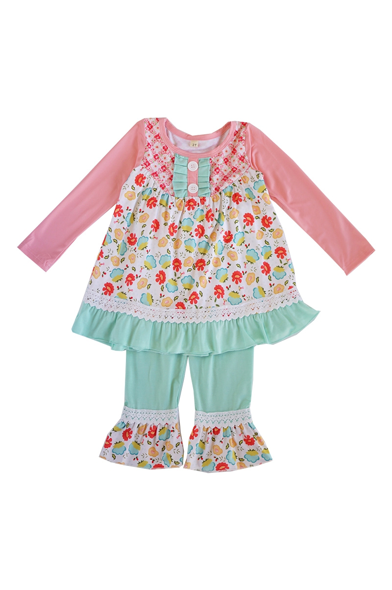 Pink green ruffle girls set - orangeshine.com