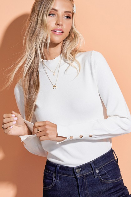 Button Sleeve Mock Neck Top - orangeshine.com
