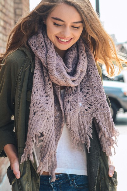 Feather Knit Boho Scarf - orangeshine.com