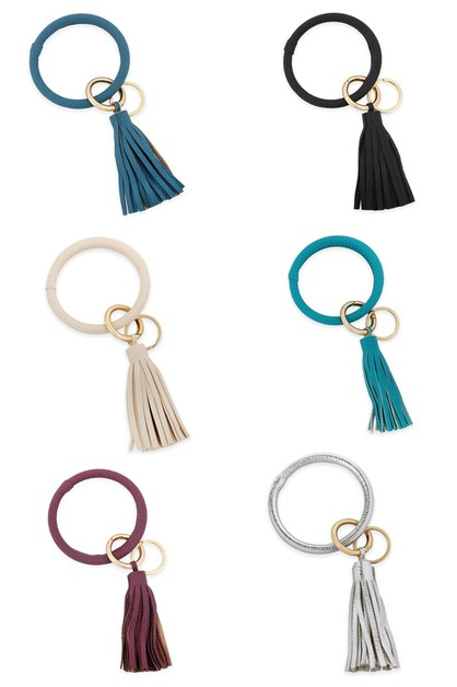 COATED KEY RING WITH LEATHER TASSEL - orangeshine.com