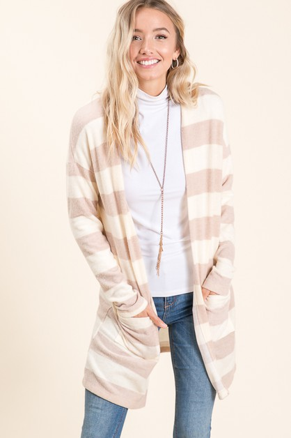 Soft Stripe Open Cardigan - orangeshine.com