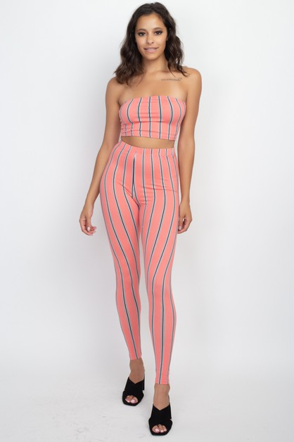 Striped Tube Top and Leggings Set - orangeshine.com