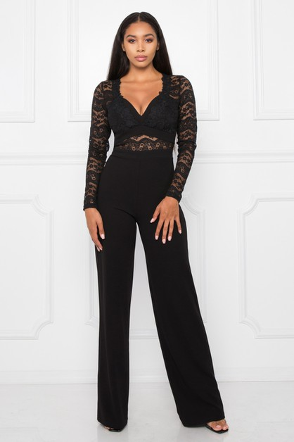 LACE BUSTIER LONG SLEEVE WIDE LEG JU - orangeshine.com