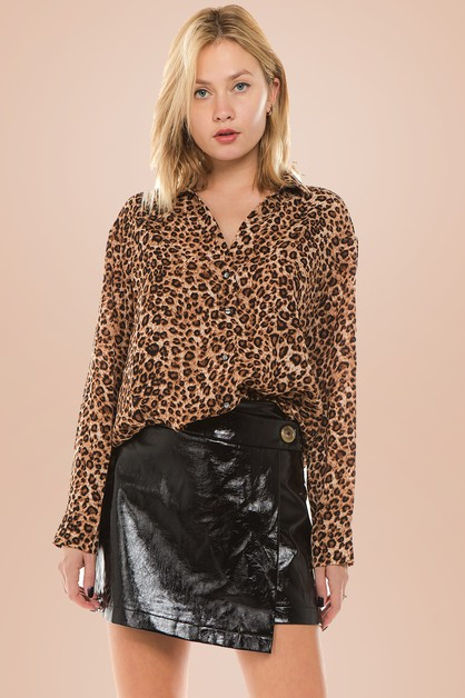 Long Sleeve Leopard Print Shirt - orangeshine.com