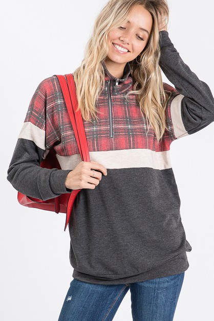 PLAID ZIP UP SWEATSHIRT - orangeshine.com