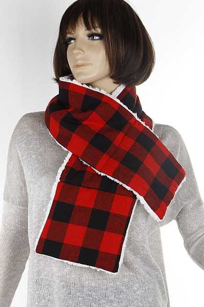 Checker Plaid Winter Lined Scarf  - orangeshine.com