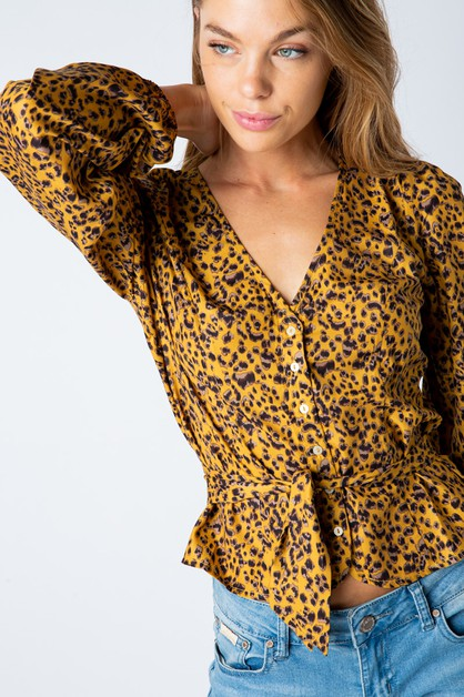 LEOPARD PRINT LONG SLEEVE BLOUSE	 - orangeshine.com